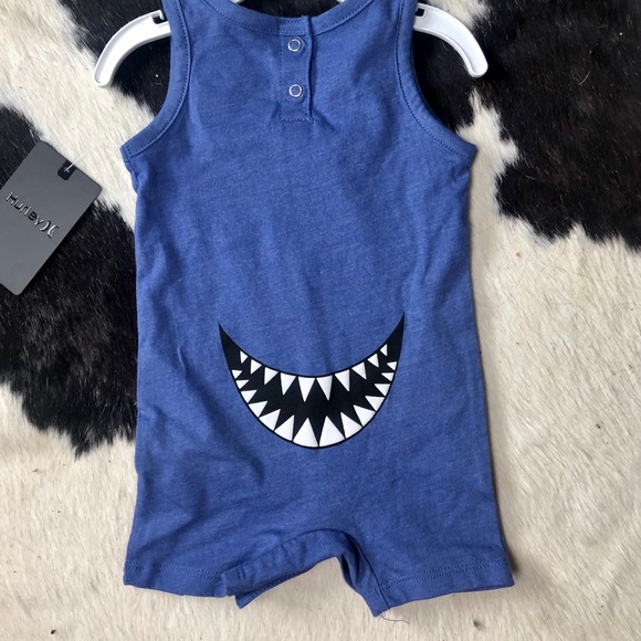 Hurley Infant Boys Say What Shark Tank Romper Blue Heather 0-3 Months